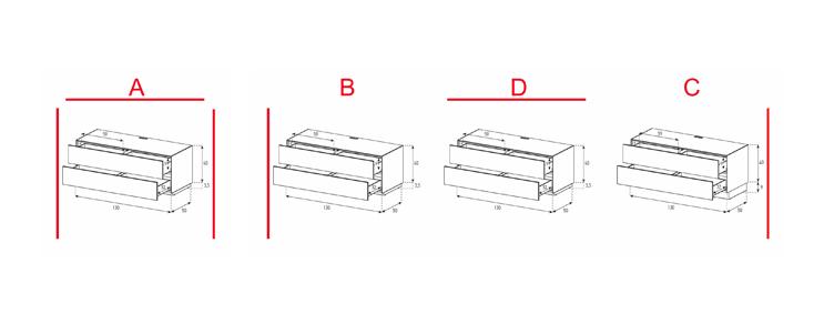 EX10-DD - Lowboard mit Schublade / Schublade