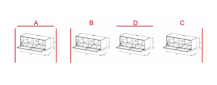 EX10-TC - Lowboard mit Klapptür Textil (Center)