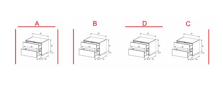 EX20-DD - Lowboard mit Schublade / Schublade