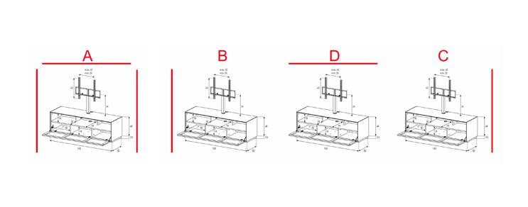 EX31-TS - Lowboard mit Klapptür Textil (Soundbar)