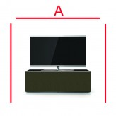 Lowboard Sonorous Elements EX10-TT-GRP-T-OLV-2-A - TV-Möbel mit Stoffbezug Olive und 2 stoffbezogenen Klapp-Türen