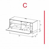Lowboard Sonorous Elements EX10-F-C - TV-Möbel mit Klapp-Tür / kombinierbar