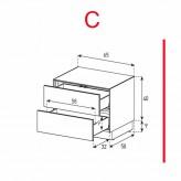Lowboard Sonorous Elements EX20-DD-C - TV-Möbel mit 2 Schubladen / kombinierbar
