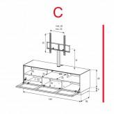 Lowboard Sonorous Elements EX31-TS-C - TV-Möbel mit stoffbezogener Klapp-Tür mit TV-Halterung / kombinierbar